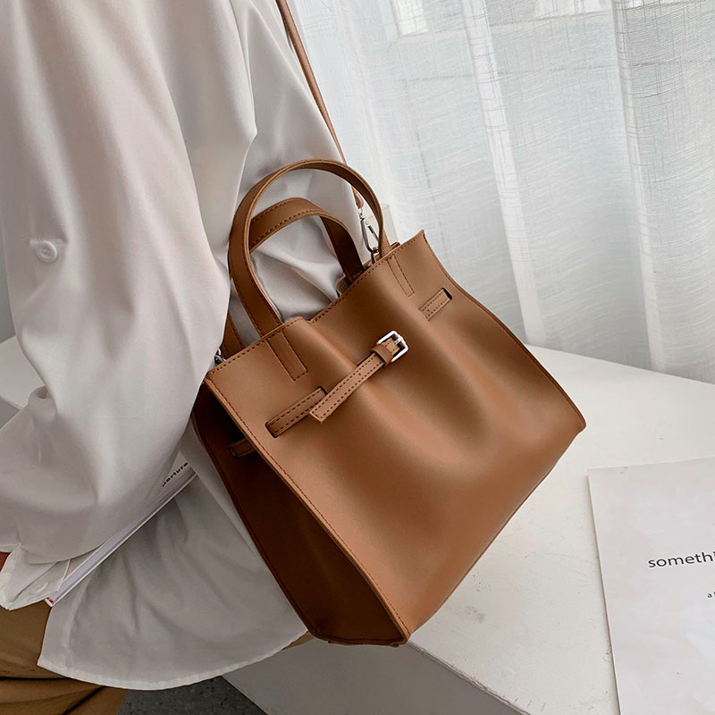 Solid Color Pu Leather Shoulder Bags For Women 2020 Fall High Capacity Handbags And Purses Belt Design Lady Travel Hand Bag