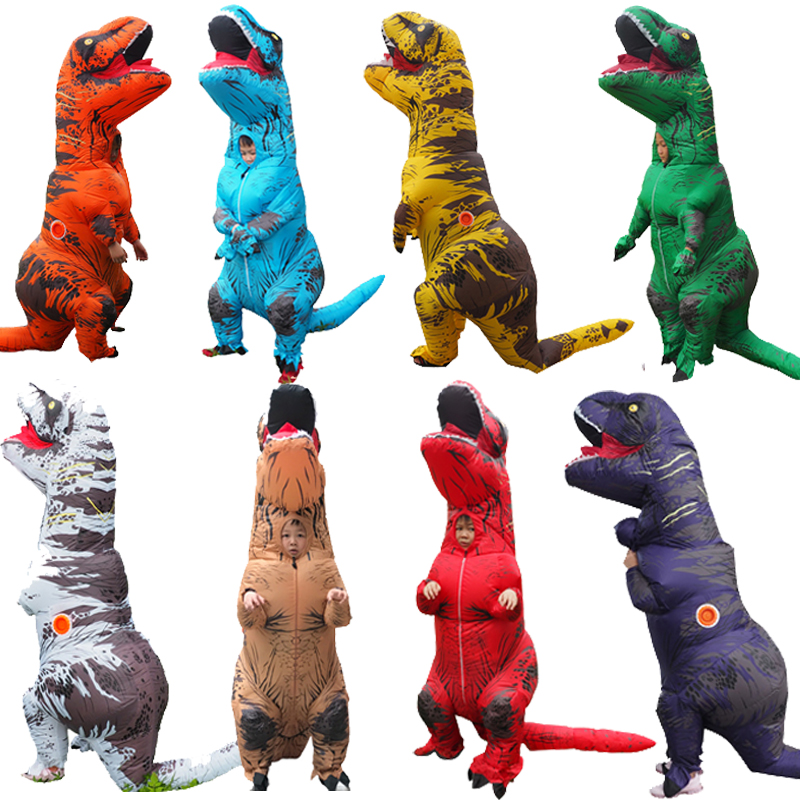 Inflatable Costume Adult Kids Dinosaur T REX Costumes Fancy Dress Mascot Cosplay Costume For Men Women Dino T Rex Costume Cartoo