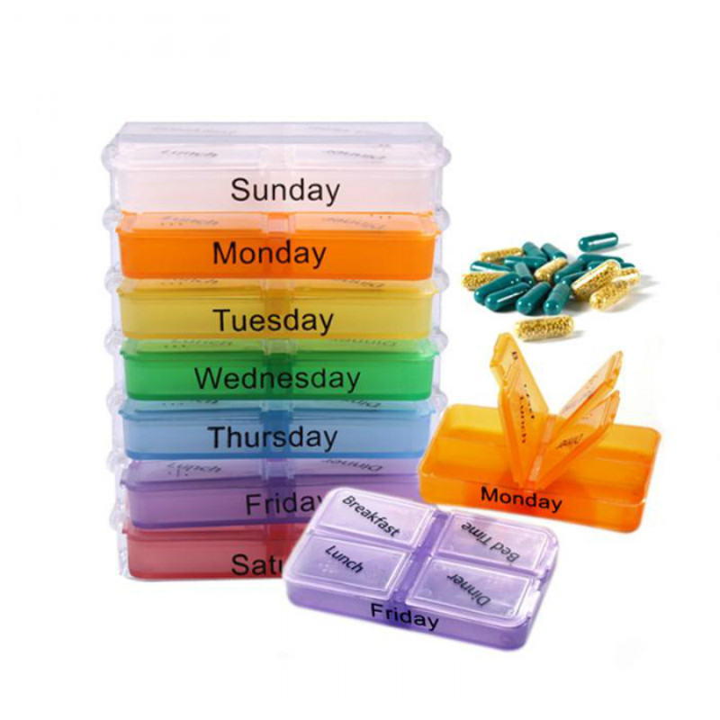 Hot Sale 7 Days Pill Case Tablet Sorter Medicine Weekly Storage Box Colorful Design Container Case Organizer Pill Organizer Boxs