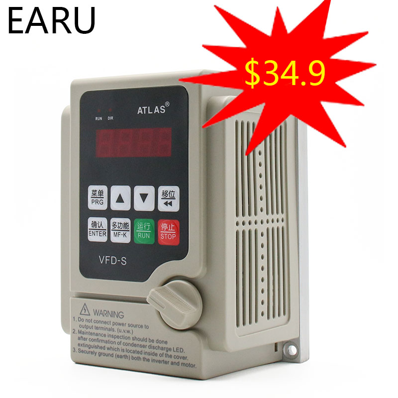 2.2KW 110V <font><b>220V</b></font> VFD Single <font><b>Phase</b></font> Input <font><b>3</b></font> <font><b>Phase</b></font> Output Frequency Converter <font><b>Inverter</b></font> Pump CNC Spindle Motor Speed Controller Drive image