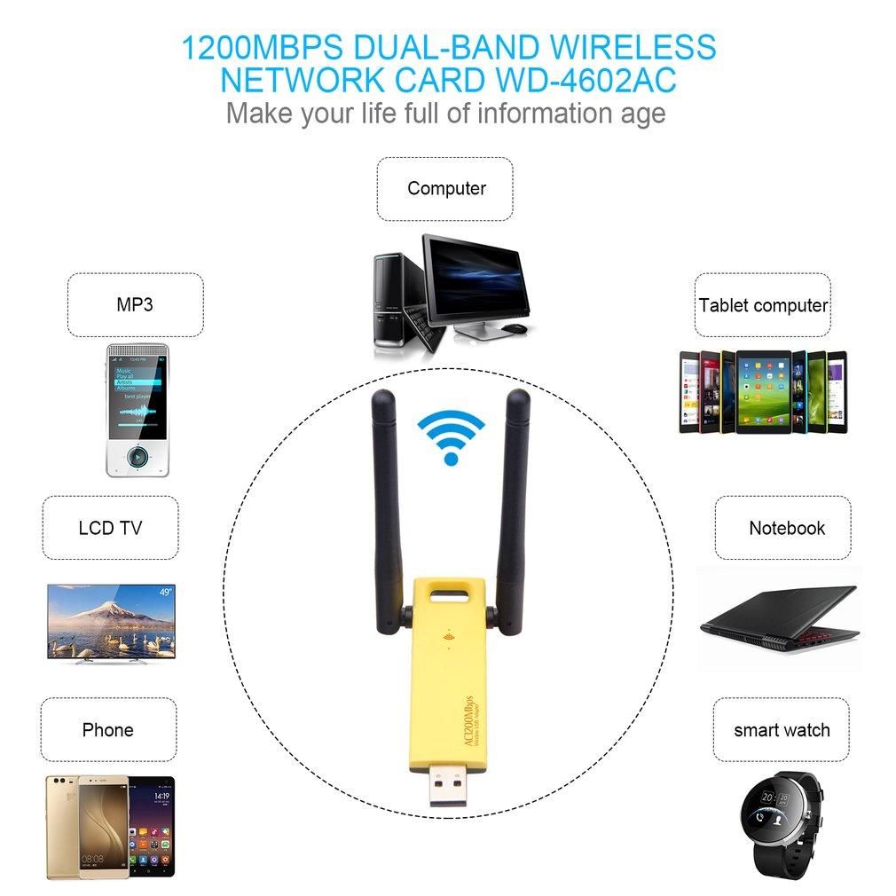 Realtek RTL8812AU/RTL8812BU Dual Band 1200mbps Wireless USB Wifi Network Adapter Antenna Laptop Ethernet 1000M Ethernet External(China)