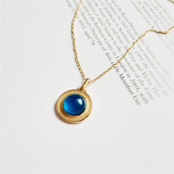 RUIYI Real 925 Sterling Silver Women Luxury Angel Magic Blue Crystal Pendant Necklace Pure 18K Gold Chokers Necklaces