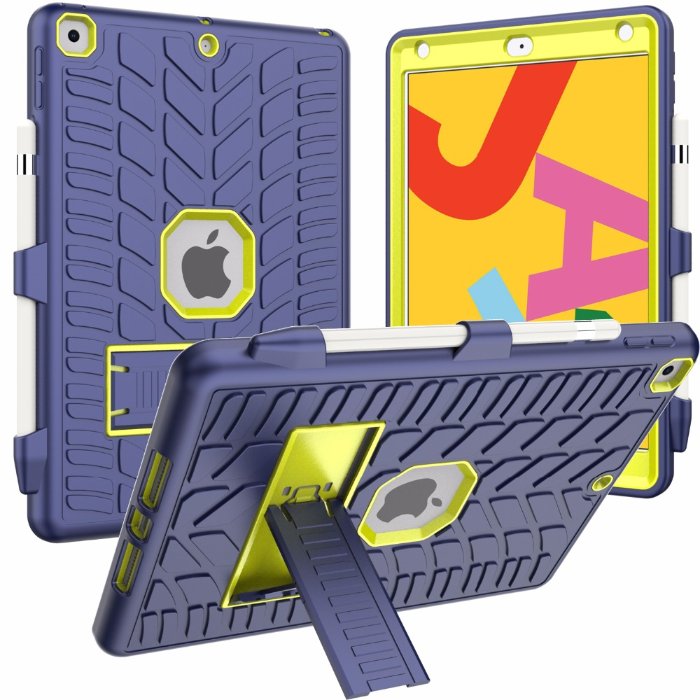 Generation with iPad Pattern 10.2 Hard Pencil Holder 8th For Case Shockproof 2020 Tire