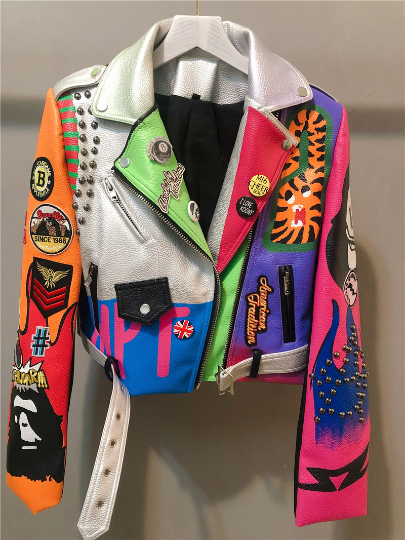 Fashion Rivet Beading Pu Leather Jacket Female Hit Color Streetstyle Graffiti Outerwear Letters Printed Leather Jackets F617