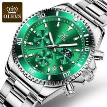 OLEVS męskie zegarki moda wodoodporny zegarek kwarcowy mężczyźni Top marka luksusowy stalowy pasek Sport data zegar męski