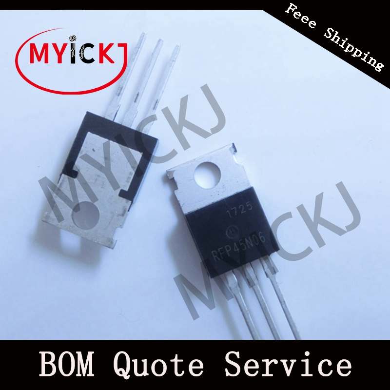10PCS RFP45N06 TO-220    45A, 60V, 0.028 Ohm, Logic Level N-Channel Power MOSFETs IC CHIP