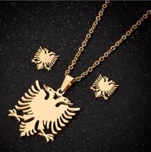 Hfarich dupla cabeça águia conjuntos de jóias dos homens pássaro pingentes colares de aço inoxidável brincos feminino albanês bandeira gargantilha collier