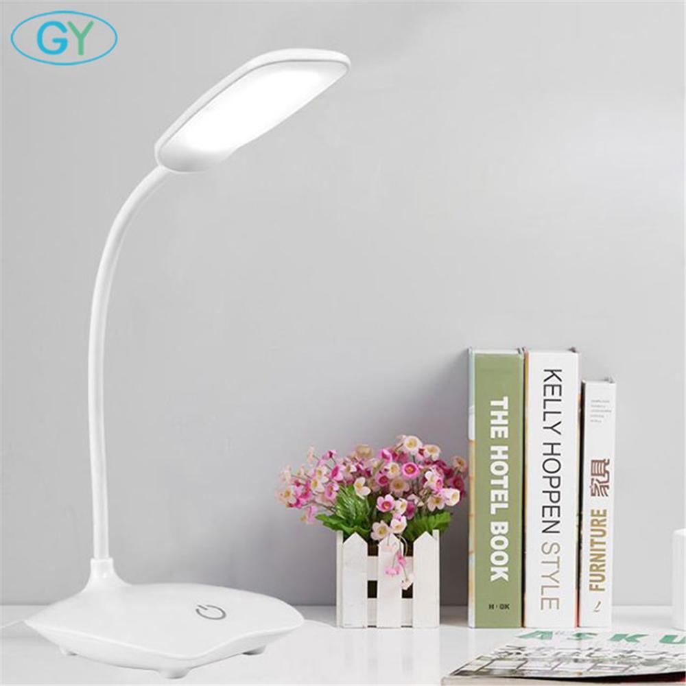 LED โคมไฟตั้งโต๊ะ Dimmable ตารางโคมไฟ DC5V USB Powered ตาราง 6000K Night Light TOUCH Dimming แบบพกพาโคมไฟ
