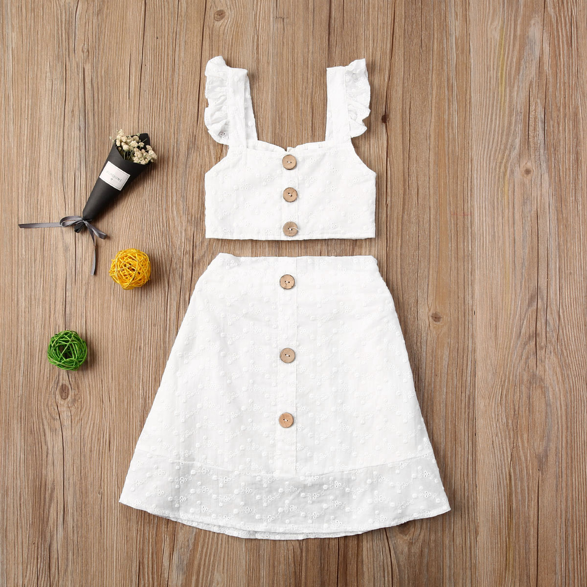 New Summer Kids Baby Girls 1T-6T Clothes Kids Sleeveless T-shirt Tops+Skirts Outfits Set