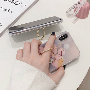 Gold Powder Geometric Marble Ring Holder Phone Case For iPhone 11 Pro Max XR X XS Max 7 8 6 Plus Case Soft Epoxy Phone Cover Bag 2