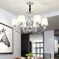 Modern wrought iron chandelier Chrome Color Metal Chandelier Living room Bedroom Kitchen Island Chandelier Lighting