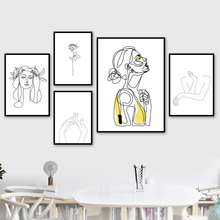 Abstract Girl Retro Line flower Wall Art Print Canvas Painting Nordic Posters And Prints Pictures For Living Room