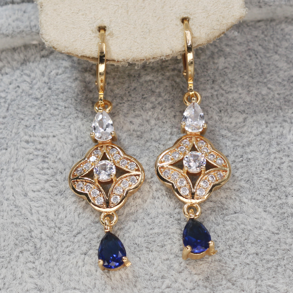 He03e3706490d4e1c832ee8e1b17af6caZ - Trendy Vintage Drop Earrings For Women Gold Filled  Red Green Pink Lavender Zircon Earrings Gold  Earring Wedding  Jewelry