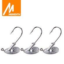 MEREDITH – hameçon de pêche à tête plombée, pour leurre souple en acier au carbone, 10 pièces, 3.5g, 5g, 7g, 10g, 14g