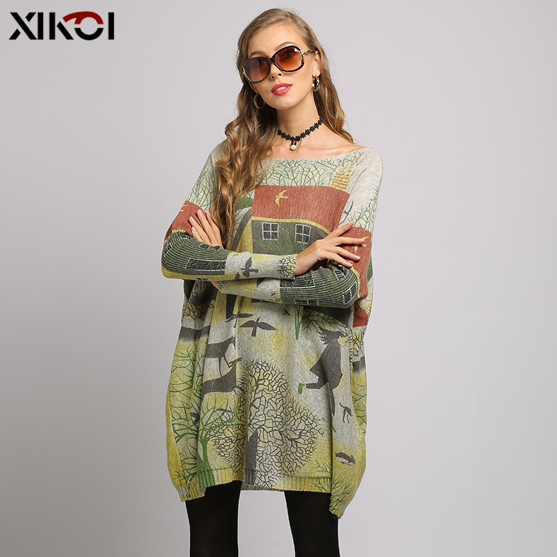 XIKOI Oversize Sweater Women Pullover Dress Pull Femme Relax Countryside Style Print Knitted Winter Warm Clothes Batwing Sleeve