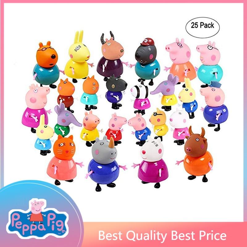 25pcs Peppa Pig Class Friends Action Figure Set Toy PVC Anime Cake Figura Pig George Family Mom Grandma Grandfa Gift Toy For Kid