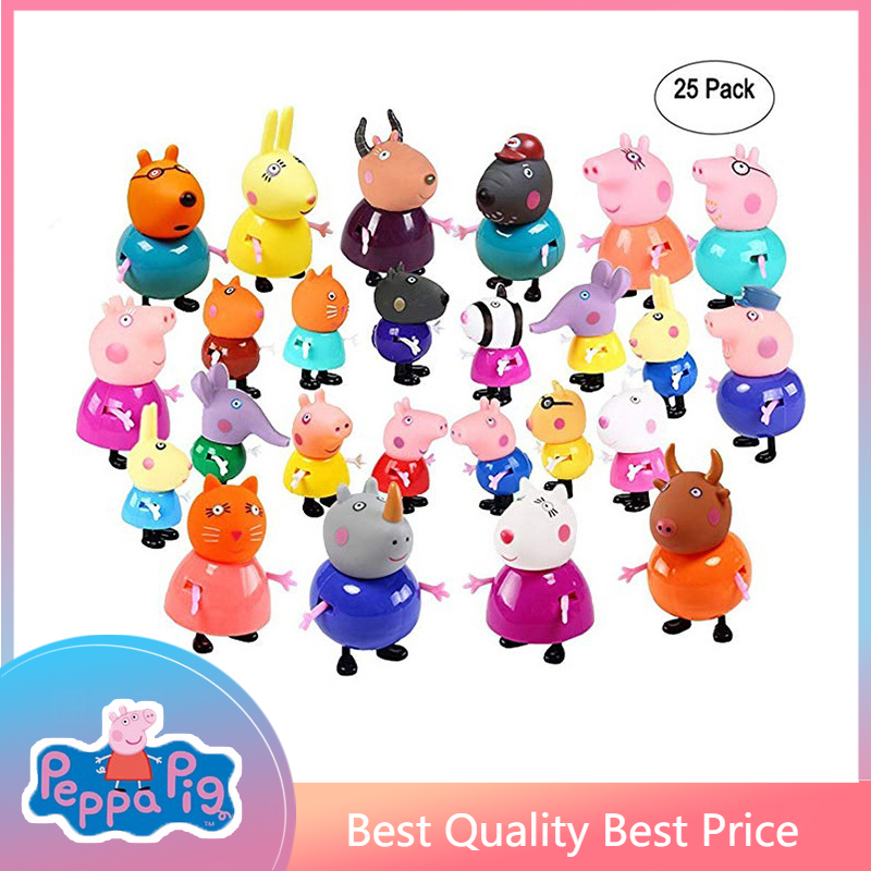 25pcs Peppa Pig Class Friends Action Figure Set Toy PVC Anime Cake Figura Pig George Family Mom Grandma Grandfa Gift Toy for Kid