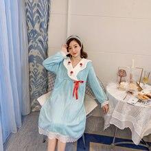 Женская бархатная длинная ночная рубашка с длинными рукавами