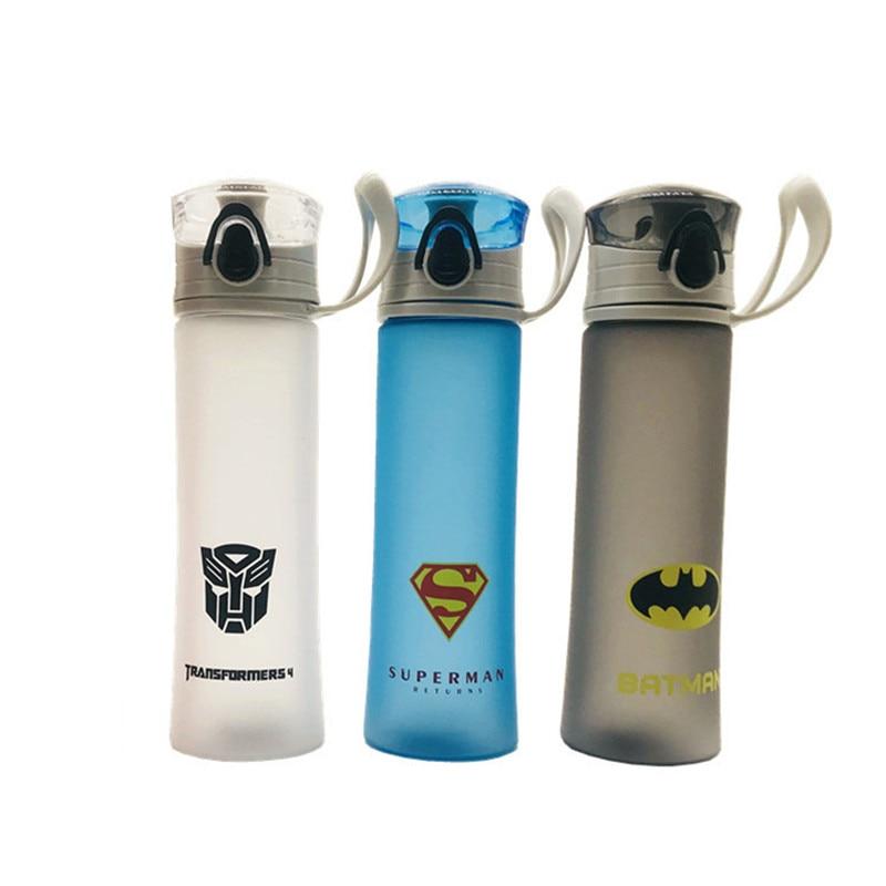 Без БФА, 450 мл, бутылка для воды Super Heros, PC Mlik & Tea Bottle, матовый корпус Suface, портативная мультяшная Лига воды, чайник, ручка, веревка