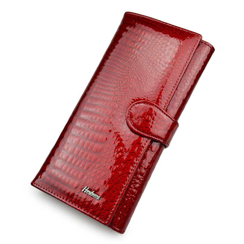 Shiny Red Women Wallets Genuine Leather Wallet Female Purse Long Purses Alligator Leather Ladies Coin Pocket Card Holder Wallet