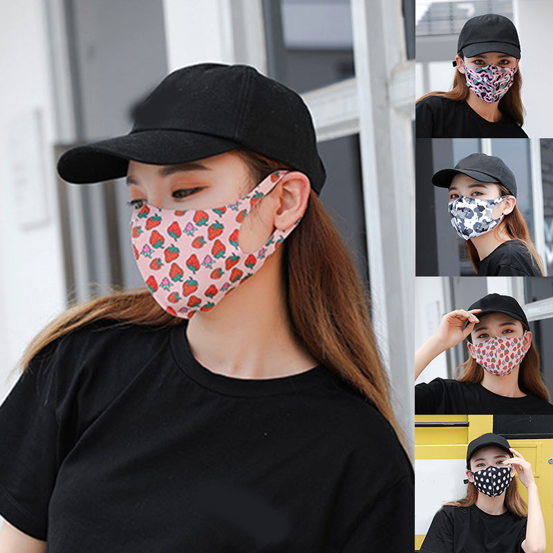 Adults Washable Ice Silk Print Mask Fashion Anti-Haze Anti-Dust Comfortable Cute Mouth Face Mask For Women And Men