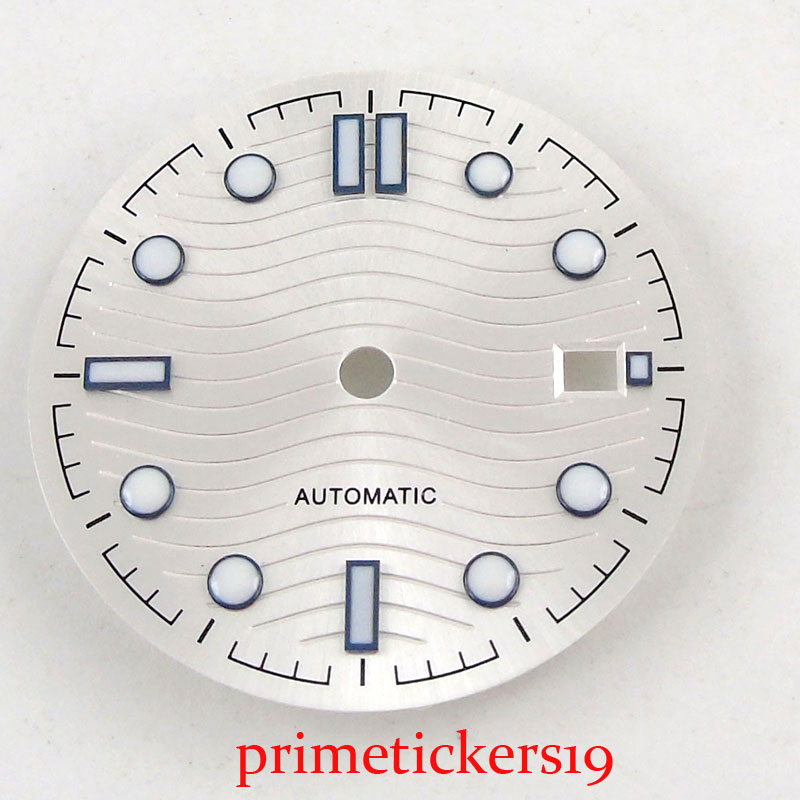 31mm BLIGER stainless steel white sterile watch dial fit NH35 automatic movement with date window watch accessories