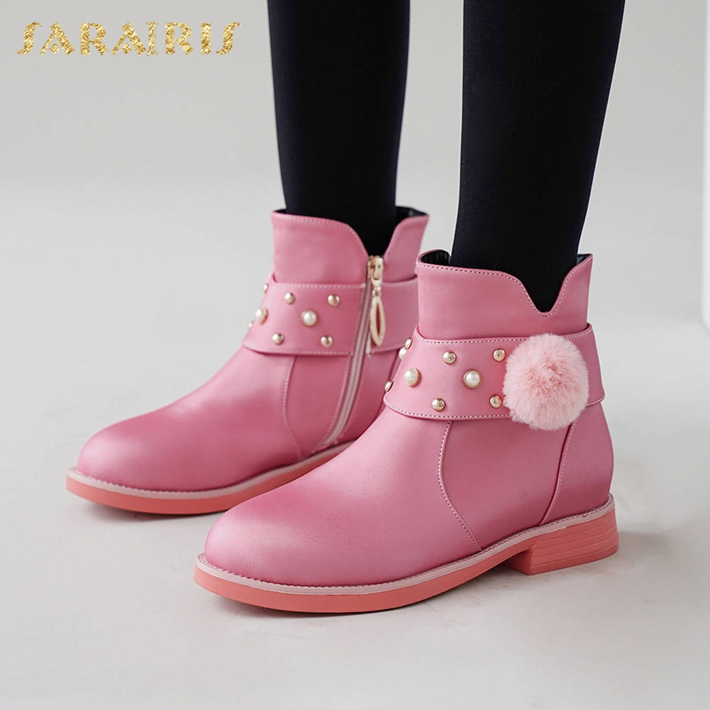 Sarairis Fashion New Hot Size 26-39 Add Fur Autumn Winter Boots Woman Shoes Chunky Heels Zipper Rivet Shoes Women Boots female