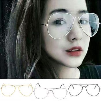 Gafas de diseñador de lentes transparentes de Metal Retro de moda grande E5BC