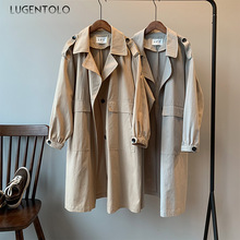 Lugentolo Trench Coat for Women Medium Long Section Autumn Solid Long Sleeve Ove
