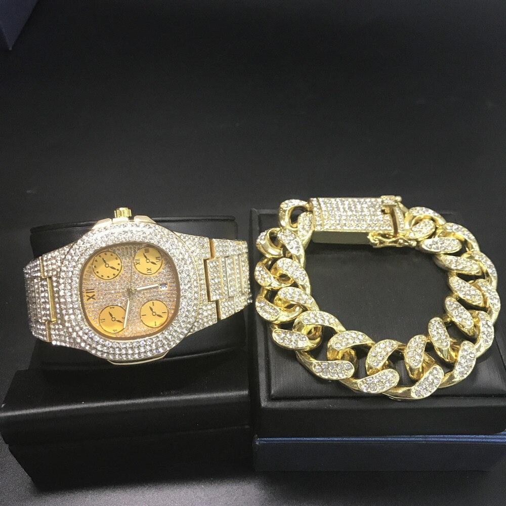 Luxury Men Fashion Gold Diamond Watch & Diamond Bracelet For Men Ice Out Cuban Watch Top Brand Hip Hop Watch For Men
