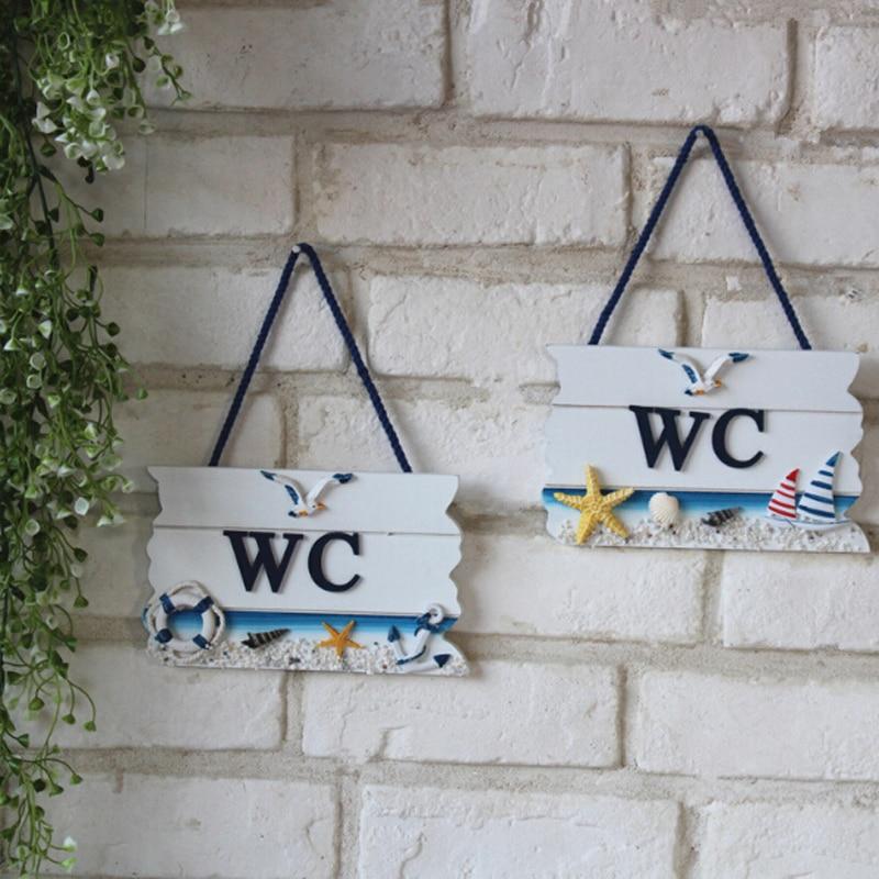 Creative Wooden Mediterranean Style Wc Doorplate Door Hang Tag Wc Bathroom Toilet Household Door Decoration Board