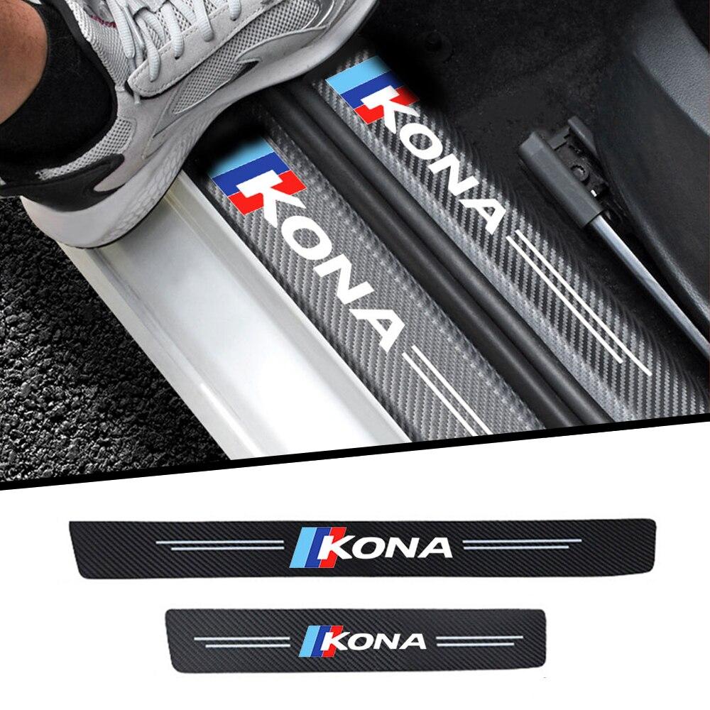4 шт тряпочек волокна порог машины для защиты автомобиля стикер автомобиля аксессуары для hyundai kona автомобильные наклейки