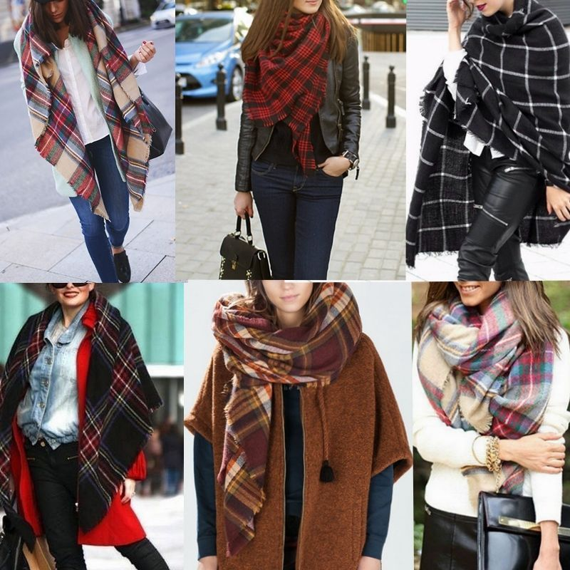 New Style Europe And America Versitile Fashion Autumn And Winter Faux Cashmere Thick Oversized Shawl Scarf Color Plaid Scarf