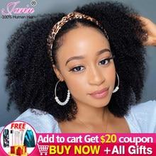 Janin Hair-peluca con diadema, pelo Afro rizado a máquina, pelucas de cabello humano brasileño de 2/3 de densidad, 1/200% Uds.