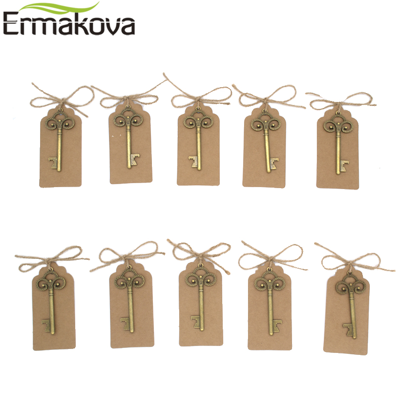Image 3 - ERMAKOVA 50 Pcs/Lot Key Bottle Opener Skeleton Wine Opener Blank Card for Guests Rustic Wedding Party Favors Souvenir GiftsOpeners   -
