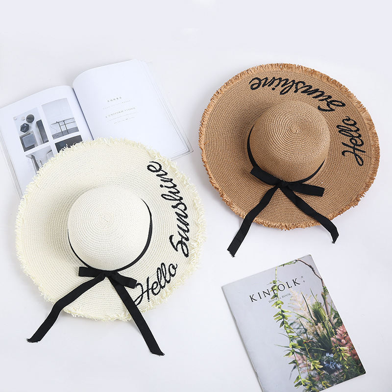 Embroidery Summer Straw Hat Women Wide Brim Sun Protection Beach Hat Adjustable Floppy 2020Foldable Sun Hats For Ladies