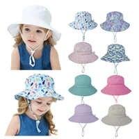 Sombrero de bebé de verano para niñas, niños, Cubo de niños gorro primavera otoño viaje playa sombrero gorro bebé sombreros de sol con cuerda resistente al viento 16 colores
