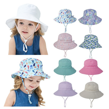 fashion baby hats spring summer baby sun hat star print girls sun cap kids boys hat baby bucket hat Summer Baby Hat for Girls Boys Kids Bucket Hat Spring Autumn Travel Beach Hat Baby Cap Sun Hats with Windproof Rope 16 Colors