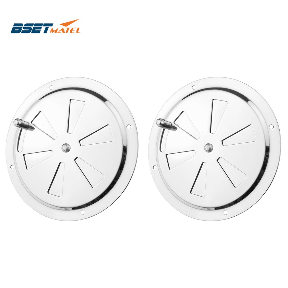 2PCS Stainless Steel 316 Boat Marine Round Air Louver Vent Grille Ventilation Louvered Ventilator Grill Cover Side Knob Opening