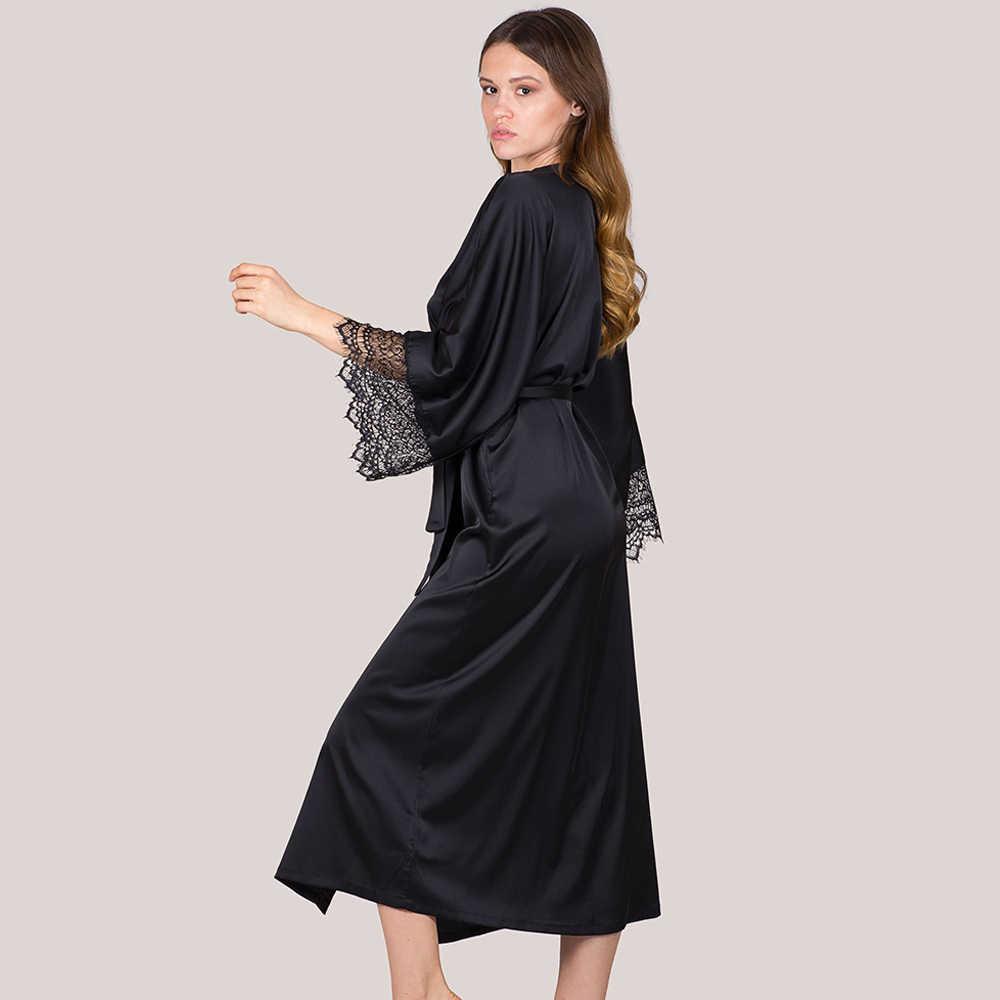 ผ้าไหมซาติน Sleep ชุดสวมใส่เสื้อคลุมอาบน้ำสำหรับผู้หญิงสีดำแขนยาว Lady Nightgown Maxi ชุดราตรีชุดชั้นใน D30