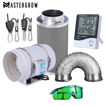 220V Centrifugal Fans& 4/5/6 Inch Activated Carbon Air Filter Set For Led grow light Indoor Hydroponics Grow Tent Greenhouses