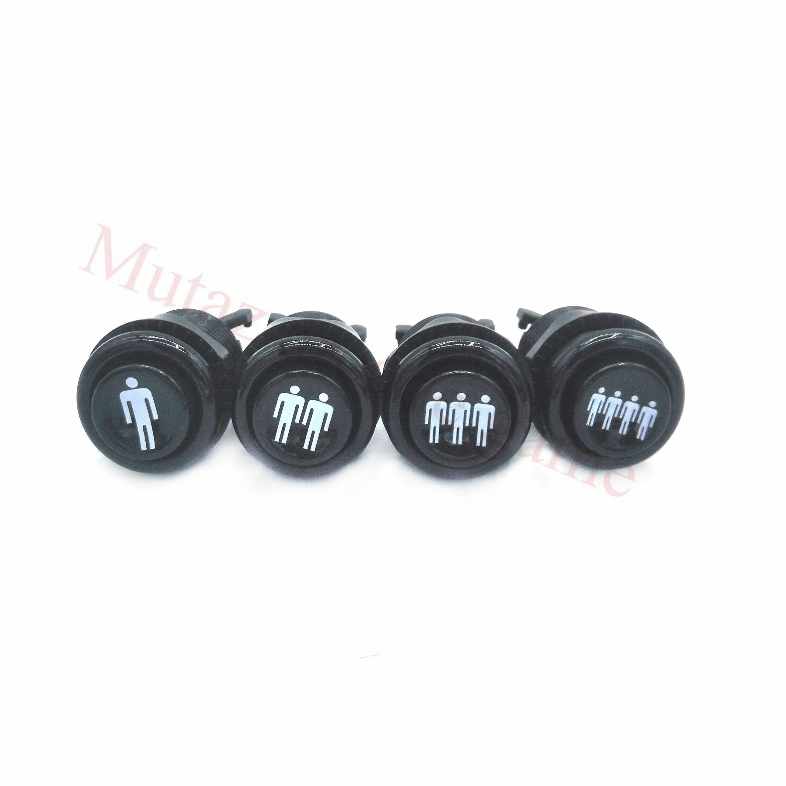 4 шт. 28 мм крепежное отверстие американская Кнопка happ 1P/2P/3P/4P черная круглая кнопка с микропереключателем для аркадной видеоигры
