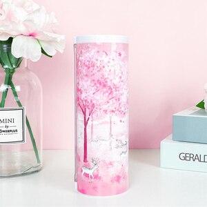 Image 4 - Newmebox Pink Pencil Case Kawaii Fallen Flower Pen Box School for Girl Plastic Stationery Romantic Cherry Blossom Back To School