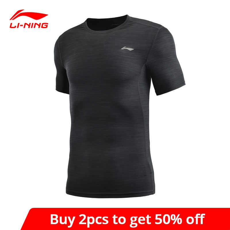 Li-Ning Mannen Training Base Layer Tight Fit Ademend 90% Polyester 10% Spandex Voering Li Ning Sport T-shirts Tee AUDP009 MTS3036