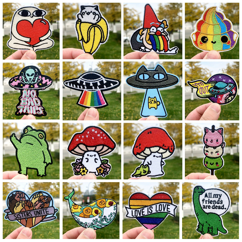 Prajna Cute Cartoon Embroidered Patches for Clothing Animal Dog Stripes Patch Stickers Gay UFO Patch Iron on Patches for Clothes