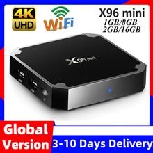 X96mini x96 mini android 7.1 caixa de tv inteligente x 96 2gb/16gb 1gb/8gb amlogic s905w quad core suporte 4k 30tps 2.4ghz wifi conjunto caixa superior