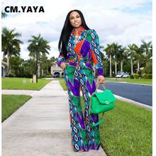 CM.YAYA-Conjunto de dos piezas con estampado de Cachemira para mujer, conjuntos para gimnasio, manga abombada, Pantalones rectos, chándal