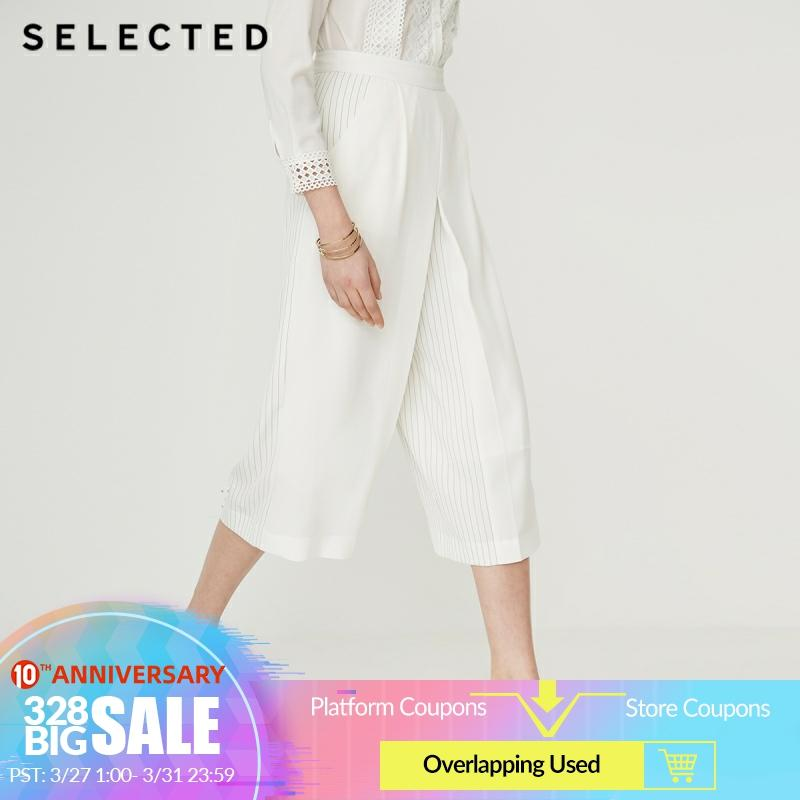SELECTED Women White Thin Striped Pattern Loose Fit Wide-leg Pants G|419214509