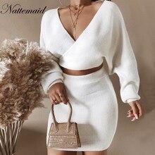 NATTEMAID الخريف الشتاء الأبيض قطعتين مجموعة عالية تمتد بلوزات و تنورة الصلبة النساء مجموعة فستان نادي مثير 2 قطعة مجموعة النساء الزيمجموعات نسائية