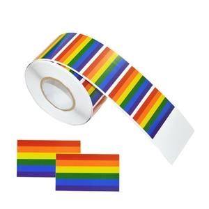 Image 4 - Rollo de pegatinas en forma de corazón para manualidades, rollo de pegatinas en forma de corazón, Arco Iris, Orgullo Gay, para regalo, 500 Uds.